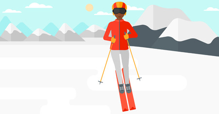 snow capped: An african-american woman skiing on the background of snow capped mountain vector flat design illustration. Horizontal layout.