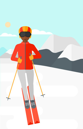 women exercise: An african-american woman skiing on the background of snow capped mountain vector flat design illustration. Vertical layout.
