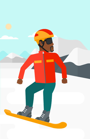 An african-american man snowboarding on the background of snow capped mountain vector flat design illustration. Vertical layout.