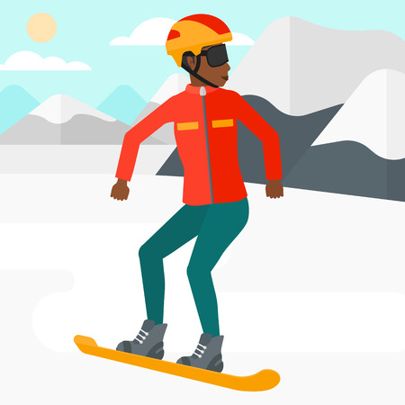 snow capped mountain: An african-american woman snowboarding on the background of snow capped mountain vector flat design illustration. Square layout.