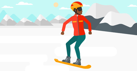 snow capped: An african-american woman snowboarding on the background of snow capped mountain vector flat design illustration. Horizontal layout.