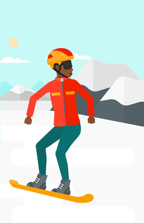 An african-american woman snowboarding on the background of snow capped mountain vector flat design illustration. Vertical layout. Illustration