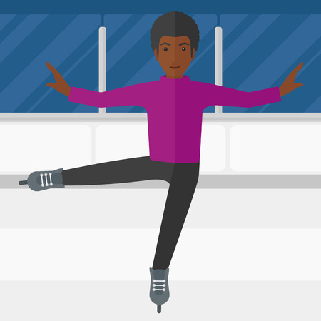 skating rink: An african-american figure skater performing on ice skating rink vector flat design illustration. Square layout.