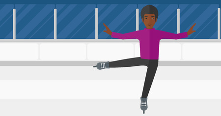 skating rink: An african-american figure skater performing on ice skating rink vector flat design illustration. Horizontal layout.
