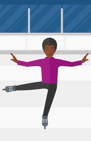 deportes caricatura: An african-american figure skater performing on ice skating rink vector flat design illustration. Vertical layout. Vectores