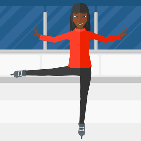women exercise: An african-american figure skater performing on ice skating rink vector flat design illustration. Square layout.
