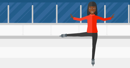 activity cartoon: An african-american figure skater performing on ice skating rink vector flat design illustration. Horizontal layout.