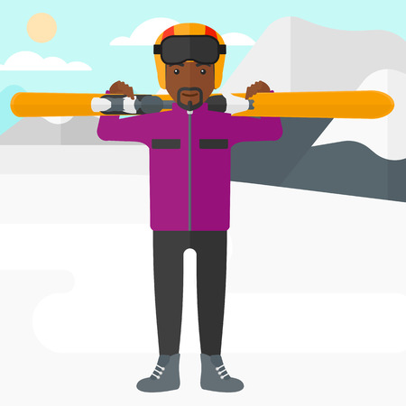 An african-american man carrying skis on his shoulders on the background of snow capped mountain vector flat design illustration. Square layout.