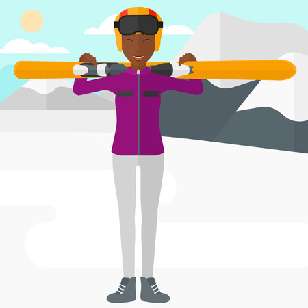 women exercise: An african-american woman carrying skis on her shoulders on the background of snow capped mountain vector flat design illustration. Square layout.