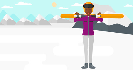 women exercise: An african-american woman carrying skis on her shoulders on the background of snow capped mountain vector flat design illustration. Horizontal layout.