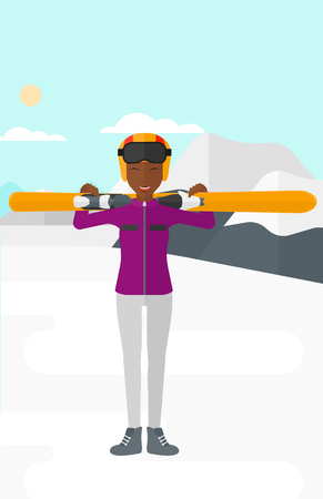snow capped: An african-american woman carrying skis on her shoulders on the background of snow capped mountain vector flat design illustration. Vertical layout.