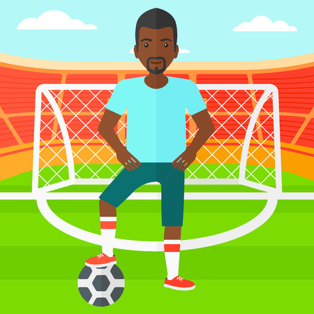 An african-american man with football ball on the field of stadium  vector flat design illustration vector flat design illustration. Square layout.