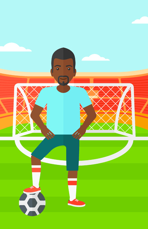 cartoon ball: An african-american man with football ball on the field of stadium vector flat design illustration vector flat design illustration. Vertical layout.