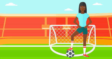 cartoon ball: An african-american woman with football ball on the field of stadium vector flat design illustration vector flat design illustration. Horizontal layout.