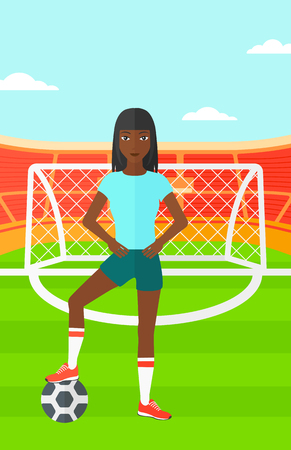 women exercise: An african-american woman with football ball on the field of stadium vector flat design illustration vector flat design illustration. Vertical layout. Illustration