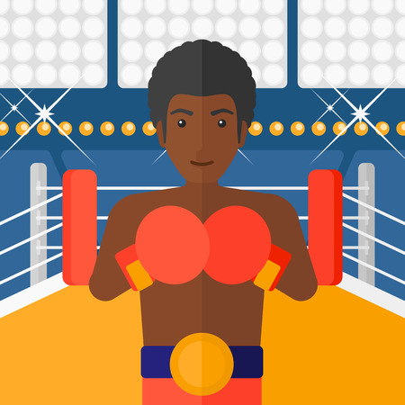 An african-american man in gloves in the ring vector flat design illustration vector flat design illustration. Square layout.