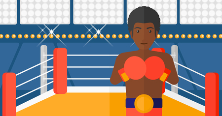 An african-american man in gloves in the ring vector flat design illustration vector flat design illustration. Horizontal layout. Illustration