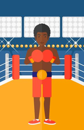 An african-american man in gloves in the ring vector flat design illustration vector flat design illustration. Vertical layout. 矢量图像