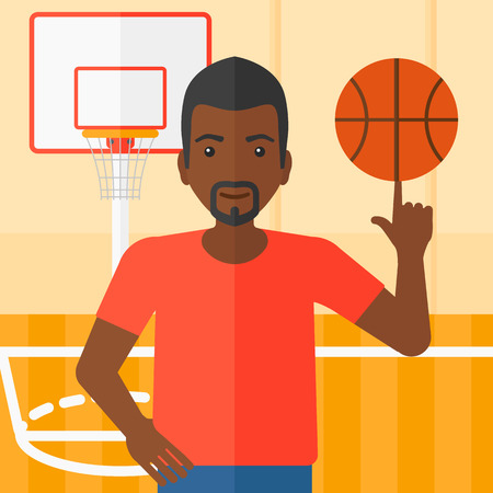 spinning: An african-american man spinning basketball ball on his finger on the background of basketball court vector flat design illustration. Square layout.