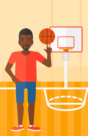 An african-american man spinning basketball ball on his finger on the background of basketball court vector flat design illustration. Vertical layout. Vettoriali