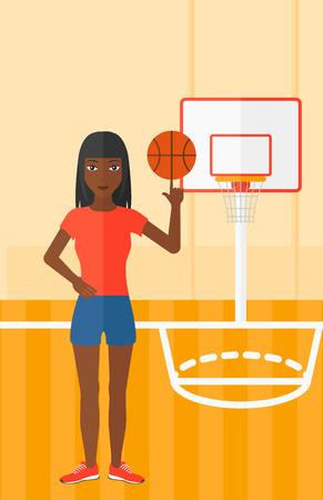 An african-american woman spinning basketball ball on her finger on the background of basketball court vector flat design illustration. Vertical layout.