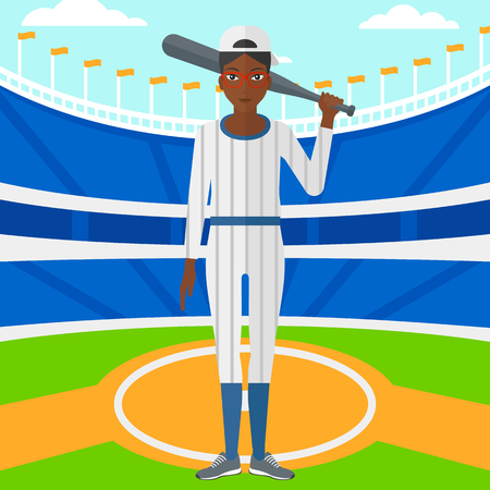An african-american woman with a bat on the baseball stadium vector flat design illustration. Square layout. Vectores