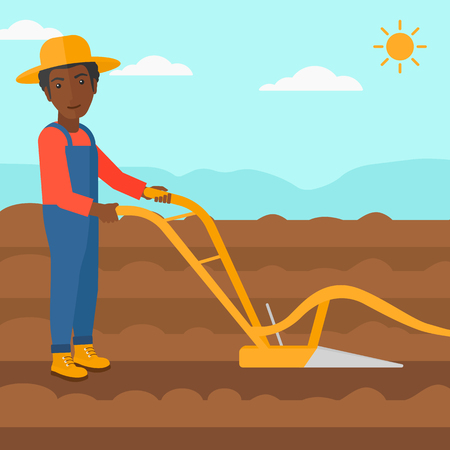 furrow: An african-american man using a plough on the background of plowed agricultural field vector flat design illustration. Square layout. Illustration