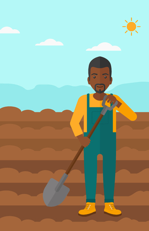 plowed: An african-american man with shovel on a background of plowed agricultural field vector flat design illustration. Vertical layout.