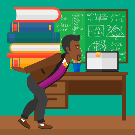 An african-american man carrying a pile of books on his back on the background of classroom vector flat design illustration. Square layout.