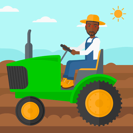fieldwork: An african-american man driving a tractor on a background of plowed agricultural field vector flat design illustration. Square layout. Illustration
