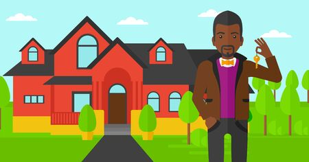 An african-american real estate agent holding key on the background of red house vector flat design illustration. Horizontal layout. 矢量图像