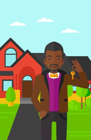 An african-american real estate agent holding key on the background of red house vector flat design illustration. Vertical layout. Illustration