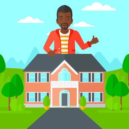 trees landscape: An african-american real estate agent standing behind the house with thumb up vector flat design illustration. Square layout. Illustration