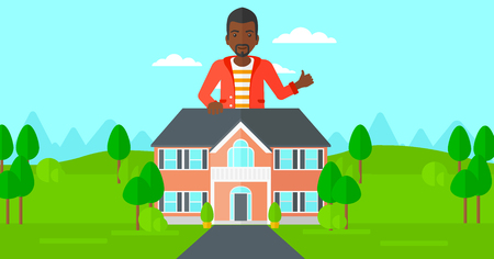 cartoon building: An african-american real estate agent standing behind the house with thumb up vector flat design illustration. Horizontal layout.