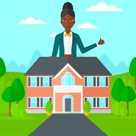 cartoon business: An african-american real estate agent standing behind the house with thumb up vector flat design illustration. Square layout. Illustration
