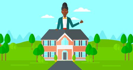 cartoon business: An african-american real estate agent standing behind the house with thumb up vector flat design illustration. Horizontal layout.