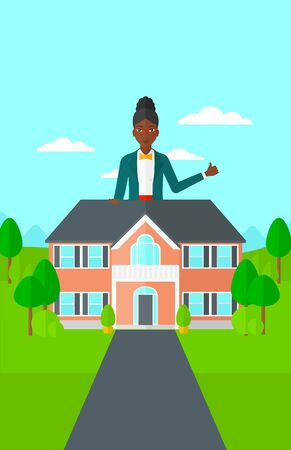 driveway: An african-american real estate agent standing behind the house with thumb up vector flat design illustration. Vertical layout.