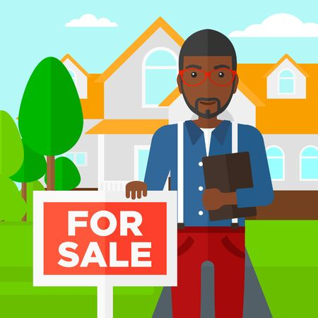 trees landscape: An african-american real estate agent holding the document and placard for sale on house background vector flat design illustration. Square layout.