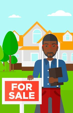 cartoon businessman: An african-american real estate agent holding the document and placard for sale on house background vector flat design illustration. Vertical layout. Illustration