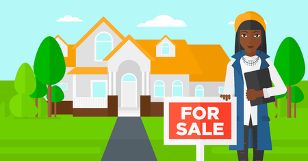 trees landscape: An african-american real estate agent holding the document and placard for sale on house background vector flat design illustration. Horizontal layout. Illustration