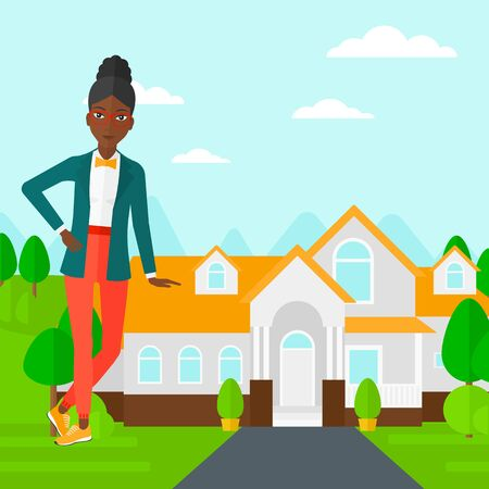 trees landscape: An african-american real estate agent standing near the house with beautiful landscape vector flat design illustration. Square layout. Illustration