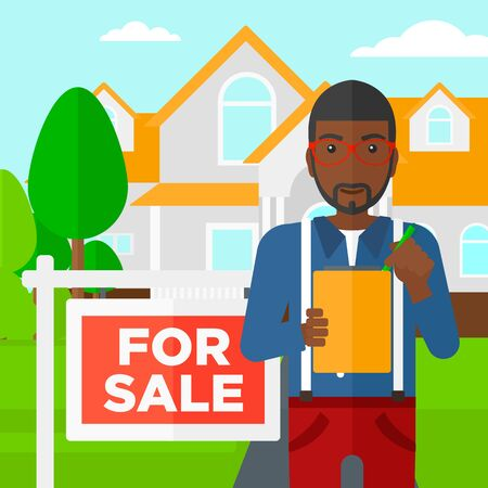 for sale sign: An african-american real estate agent signing documents in front of the house with for sale sign vector flat design illustration. Square layout.