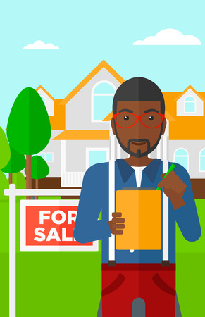 for sale sign: An african-american real estate agent signing documents in front of the house with for sale sign vector flat design illustration. Vertical layout.