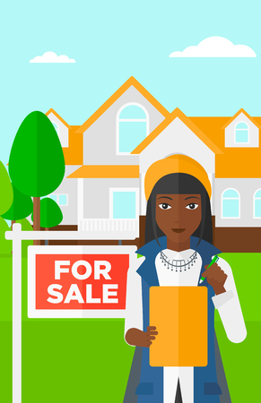 signing agent: An african-american real estate agent signing documents in front of the house with for sale sign vector flat design illustration. Vertical layout.