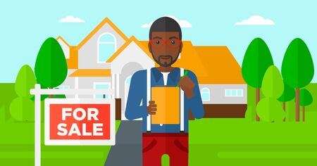 signing agent: An african-american real estate agent signing documents in front of the house with for sale sign vector flat design illustration. Horizontal layout.