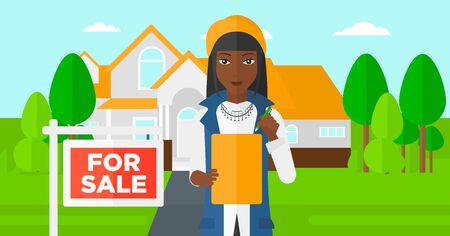 for sale sign: An african-american real estate agent signing documents in front of the house with for sale sign vector flat design illustration. Horizontal layout.