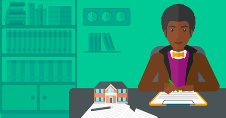 agency agreement: An african-american man sitting in office at the table while signing a contract and a small model of the house standing on the table vector flat design illustration. Horizontal layout.
