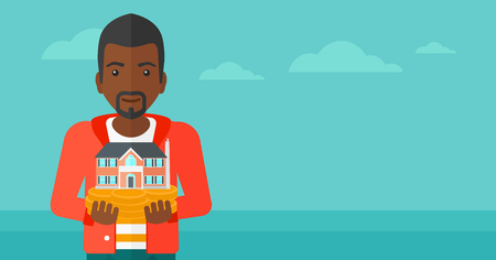 hands holding house: An african-american man holding model of house in hands on the background of blue sea and sky vector flat design illustration. Horizontal layout. Illustration