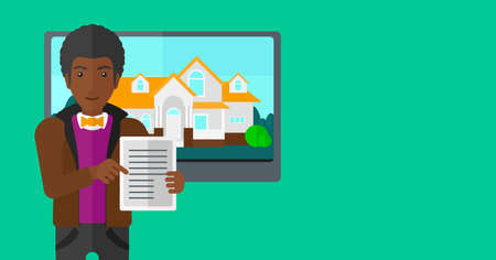 big screen: An african-american man standing in front of big screen with house photo and holding a tablet computer in hands on a light green background vector flat design illustration. Horizontal layout.