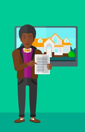 big screen: An african-american man standing in front of big screen with house photo and holding a tablet computer in hands on a light green background vector flat design illustration. Vertical layout. Illustration